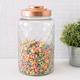Home Accents Medium Textured Glass Jar with Gleaming Air-Tight Copper Top