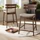 Larine Light Gray Fabric Upholstered Walnut Finished 2-Piece Wood Counter Stool Set