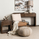 Harmen off-White Fabric And Brown Leather Seat Accent Chair