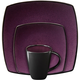 Gibson Home Soho Lounge Square 16-piece dinnerware set Purple
