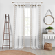 Home Accents Shilo Boho Sheer Tab Top Window Curtain Panel with Tassels, Linen, 52