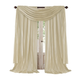 Home accents Athena Faux Silk Window Curtain and Scarf Set, Ivory, 52