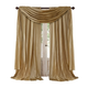 Home accents Athena Faux Silk Window Curtain and Scarf Set, Gold, 52