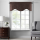Home accents Colette Faux Silk Scalloped Window Valance, Chocolate, 50