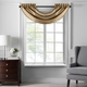 Home accents Colette Faux Silk Waterfall Beaded Window Valance, Gold, 42