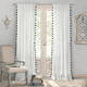 Home accents Bianca Sheer Window Curtain Panel with Tassels, Black, 52