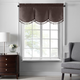 Home accents Colette Faux Silk Tassel Scallop Window Valance, Chocolate, 48