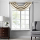 Home accents Colette Faux Silk Waterfall Beaded Window Valance, Ivory, 42