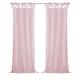 Home Accents Jolie Semi-Sheer Tie Top Window Curtain Panel, Blush, 52