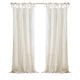 Home Accents Jolie Semi-Sheer Tie Top Window Curtain Panel, Ivory, 52