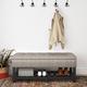 Cosmopolitan Gray Faux Leather Storage Ottoman Bench