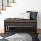 Cosmopolitan Brown Faux Leather Storage Ottoman Bench