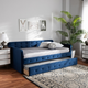 Baxton Studio Jona Transitional Navy Blue Velvet Upholstered and Button Tufted Twin Size Daybed with Trundle