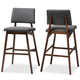 Colton Mid-Century Modern Dark Gray Fabric Upholstered and Walnut-Finished Wood Bar Stool Set