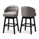 Theron Transitional Gray Fabric Upholstered Wood Swivel Bar Stool Set