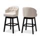 Theron Transitional Light Beige Fabric Upholstered Wood Swivel Bar Stool Set