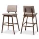 Colton Mid-Century Modern Light Gray Fabric Upholstered and Walnut-Finished Wood Bar Stool Set