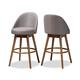 Carra Mid-Century Modern Gray Fabric Upholstered Walnut-Finished Wood Swivel Bar Stool Set