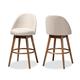 Carra Mid-Century Modern Light Beige Fabric Upholstered Walnut-Finished Wood Swivel Bar Stool Set