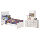 Lulu Twin Panel Bed with Mirrored Dresser