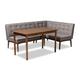 Arvid Mid-Century Modern Gray Fabric Upholstered 3-Piece Wood Dining Nook Set