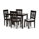 Caron Gray Fabric Upholstered Espresso Brown Finished Wood 5-Piece Dining Set