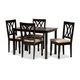 Reneau Sand Fabric Upholstered Espresso Brown Finished Wood 5-Piece Dining Set
