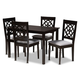 Renaud Gray Fabric Upholstered Espresso Brown Finished 5-Piece Wood Dining Set