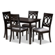 Lucie Gray Fabric Upholstered Espresso Brown Finished 5-Piece Wood Dining Set