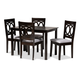 Lenoir Gray Fabric Upholstered Espresso Brown Finished Wood 5-Piece Dining Set