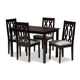 Cherese Gray Fabric Upholstered Espresso Brown Finished 5-Piece Wood Dining Set
