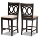 Lenoir Sand Fabric Upholstered Espresso Brown Finished Wood Counter Height Pub Chair Set