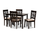 Caron Sand Fabric Upholstered Espresso Brown Finished Wood 5-Piece Dining Set