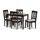 Reneau Gray Fabric Upholstered Espresso Brown Finished Wood 5-Piece Dining Set