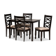 Lanier Sand Fabric Upholstered Espresso Brown Finished Wood 5-Piece Dining Set