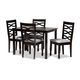 Lanier Gray Fabric Upholstered Espresso Brown Finished Wood 5-Piece Dining Set