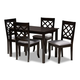 Verner Gray Fabric Upholstered Espresso Brown Finished 5-Piece Wood Dining Set