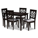 Mael Gray Fabric Upholstered Espresso Brown Finished 5-Piece Wood Dining Set