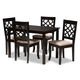 Mael Sand Fabric Upholstered Espresso Brown Finished 5-Piece Wood Dining Set