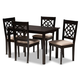 Renaud Sand Fabric Upholstered Espresso Brown Finished 5-Piece Wood Dining Set