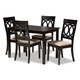 Lucie Sand Fabric Upholstered Espresso Brown Finished 5-Piece Wood Dining Set