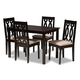 Cherese Sand Fabric Upholstered Espresso Brown Finished 5-Piece Wood Dining Set