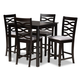 Lanier Gray Fabric Upholstered Espresso Brown Finished 5-Piece Wood Pub Set