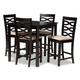 Lanier Sand Fabric Upholstered Espresso Brown Finished 5-Piece Wood Pub Set