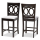 Lenoir Gray Fabric Upholstered Espresso Brown Finished Wood Counter Height Pub Chair Set