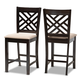 Caron Sand Fabric Upholstered Espresso Brown Finished Wood Counter Height Pub Chair Set