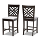 Caron Gray Fabric Upholstered Espresso Brown Finished Wood Counter Height Pub Chair Set