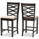 Lanier Sand Fabric Upholstered Espresso Brown Finished Wood Counter Height Pub Chair Set