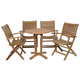 Yogya 5-Piece Teak Round Patio Bistro Set