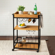 Lynn Industrial Rolling Bar Cart With Removable Serving Tray
